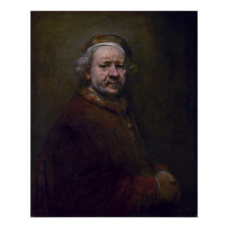 Rembrandt Harmenszoon van Rijn - autorretrato Posters