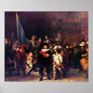 Rembrandt Harmenszoon van Rijn - guardia nocturna Poster