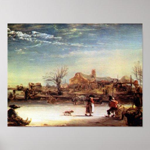 Rembrandt Harmenszoon van Rijn - paisaje del invie Póster