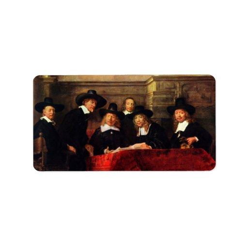 Rembrandt Harmenszoon van Rijn - Portrait of Chair Custom Address Labels