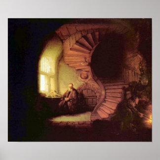 Rembrandt Harmenszoon van Rijn - The philosopher Poster