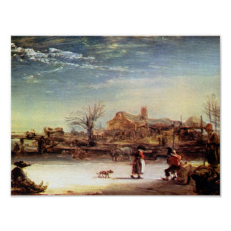 Rembrandt Harmenszoon van Rijn - Winter Landscape Poster