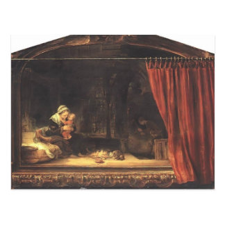 Rembrandt- Holy Family with a Curtain Postcard