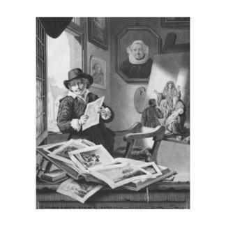 Rembrandt in his studio canvas print