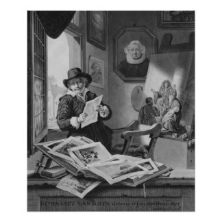 Rembrandt in his studio poster