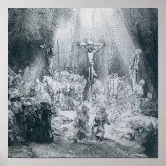Rembrandt - la impresión de tres cruces póster