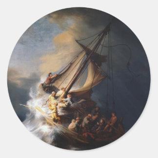Rembrandt la tormenta en el mar de Galilea Pegatina Redonda