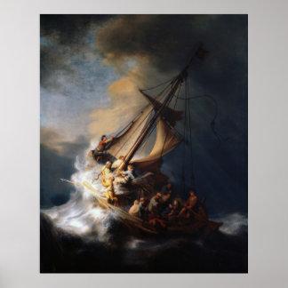 Rembrandt la tormenta en el mar de Galilea Póster
