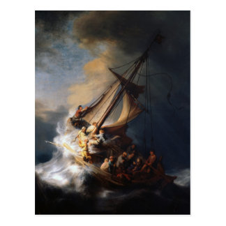 Rembrandt la tormenta en el mar de Galilea Tarjeta Postal
