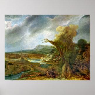 Rembrandt - Landscape with Obelisk Poster