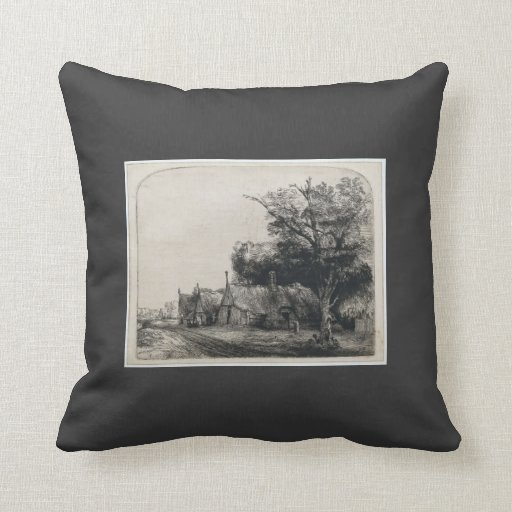 Rembrandt: Landscape with Three Huts Pillows