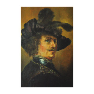 REMBRANDT MAN WITH FEATHERED HAT CANVAS PRINT