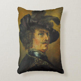 REMBRANDT MAN WITH FEATHERED HAT DECORATIVE PILLOW