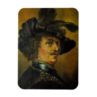 REMBRANDT MAN WITH FEATHERED HAT RECTANGULAR PHOTO MAGNET
