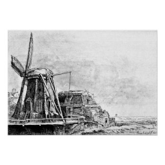 Rembrandt Mill Etching Poster