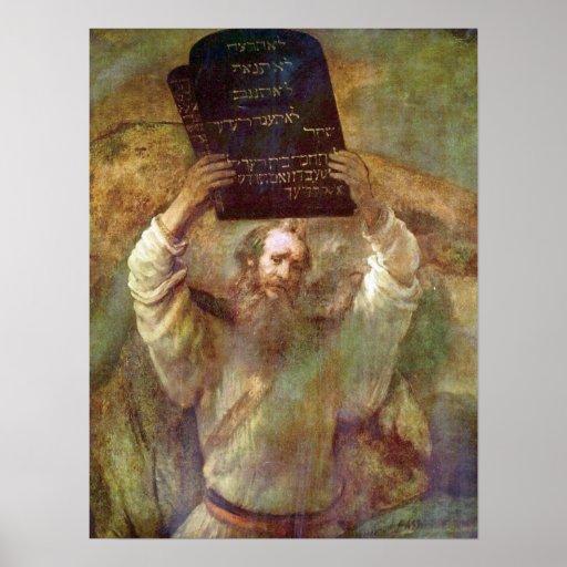 Rembrandt - Moses con los mandamientos Póster