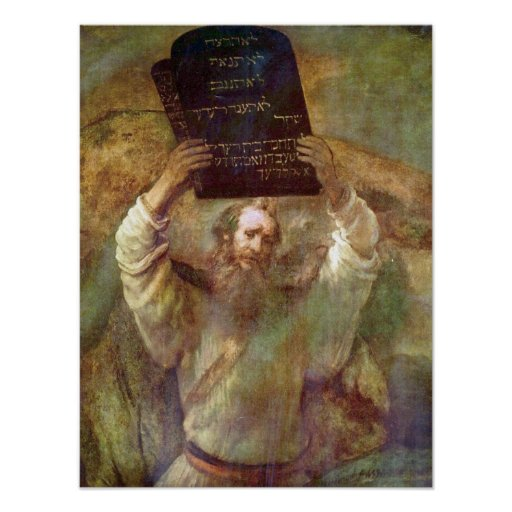 Rembrandt - Moses with the commandments Poster