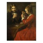 Rembrandt: Naipes de un hombre joven y de un chica Tarjetas Postales