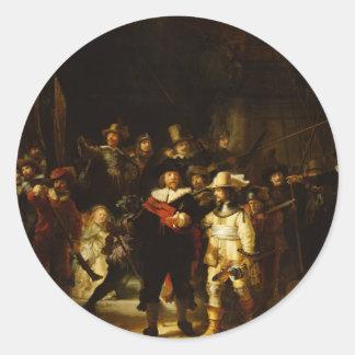 Rembrandt Nightwatch Night Watch Baroque Painting Classic Round Sticker
