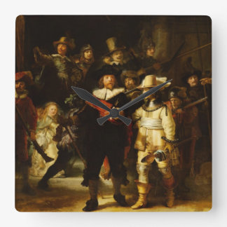 Rembrandt Nightwatch Night Watch Baroque Painting Square Wall Clock