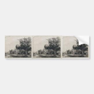Rembrandt: Paisaje con tres chozas Pegatina Para Auto