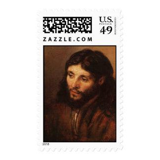 rembrandt-portrait-of-christs-head-1650 postage stamps