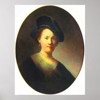 Rembrandt - retrato de una mujer joven con la boin póster