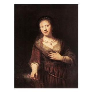 Rembrandt Saskia con una flor roja Tarjetas Postales