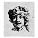 Rembrandt Self Portrait Engraving Poster