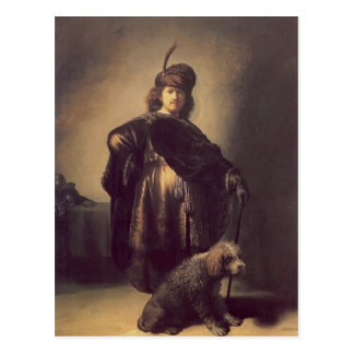 Rembrandt- Self-portrait in oriental attire,poodle Postcard