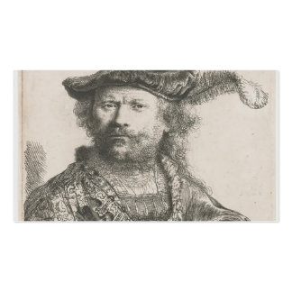 Rembrandt: Self-portrait in velvet cap and plume Business Card Templates