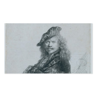 Rembrandt: Self-portrait leaning on a stone sill Business Card