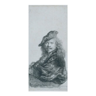 Rembrandt: Self-portrait leaning on a stone sill Custom Rack Card
