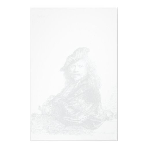 Rembrandt: Self-portrait leaning on a stone sill Personalized Stationery