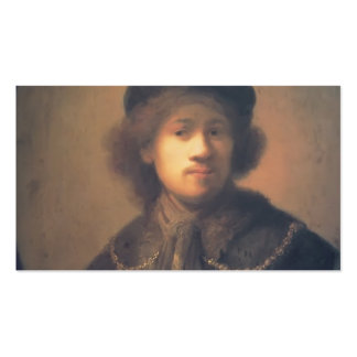 Rembrandt- Self-portrait with Beret and Gold Chain Business Card Template