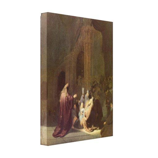 Rembrandt - Simeon en el templo Lona Envuelta Para Galerias