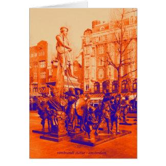 rembrandt statue amsterdam digital photo dualcolor card