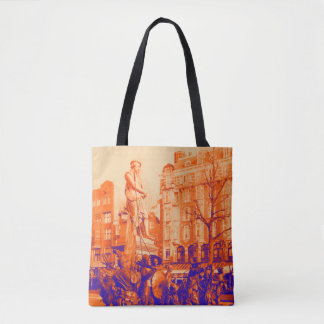 rembrandt statue amsterdam digital photo tote bag