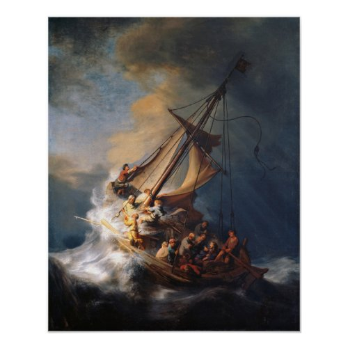 Rembrandt Storm Sea of Galilee Painting Poster
