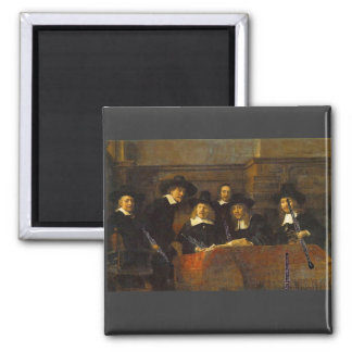 Rembrandt, Syndics of the Clothmakers, with Oboes! 2 Inch Square Magnet