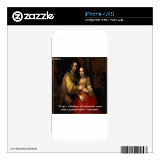 """Rembrandt """"The Jewish Bride"""" & Famous Quote iPhone 4S Skin"""