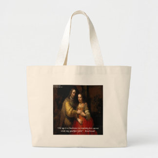 """Rembrandt """"The Jewish Bride"""" & Famous Quote Large Tote Bag"""