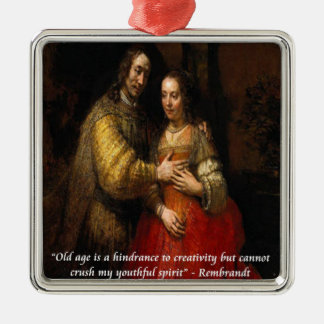 """Rembrandt """"The Jewish Bride"""" & Famous Quote Christmas Tree Ornament"""