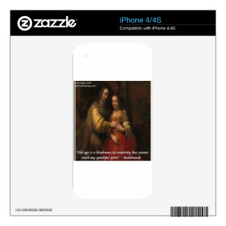 """Rembrandt """"The Jewish Bride"""" & Old Age Quote iPhone 4 Decal"""