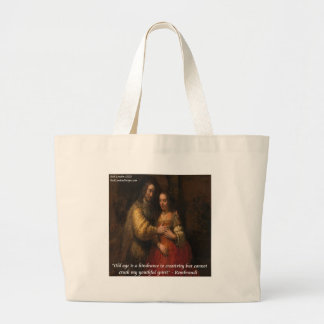 """Rembrandt """"The Jewish Bride"""" & Old Age Quote Large Tote Bag"""