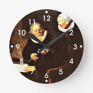 Rembrandt: The Shipbuilder and his Wife, 1633 Round Clock