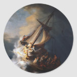 Rembrandt The Storm on the Sea of Galilee Classic Round Sticker