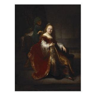 Rembrandt: Una mujer joven en su retrete Postales