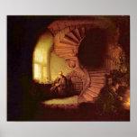 Rembrandt Van Rijn - filósofo en la meditación Poster