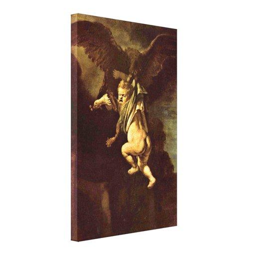 Rembrandt Van Rijn - Ganymede en los embragues Impresiones En Lona